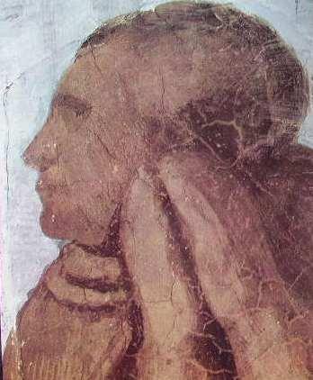 Michelangelo - Giudizio Universale, particolare della figura di un eletto