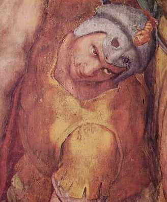 Michelangelo - La crocefissione di San Pietro, particolare di un soldato a destra della croce
