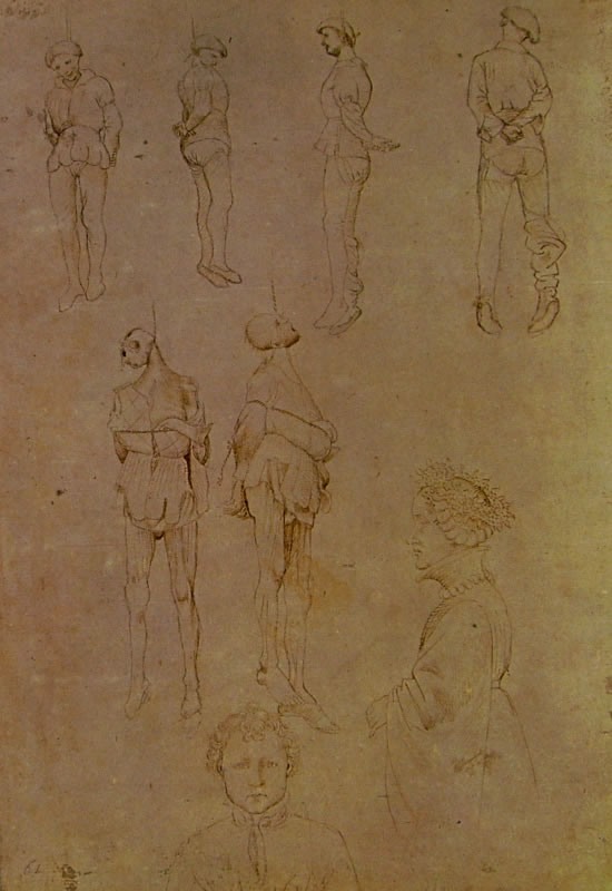 Pisanello: Sei impiccati - dama in profilo e bambino di fronte