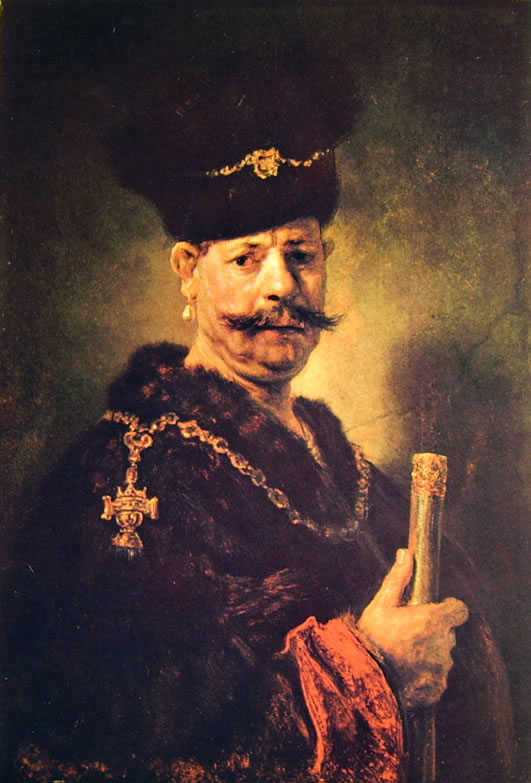 Rembrandt Harmenszoon Van Rijn: Ritratto d'uomo in costume di nobile polacco
