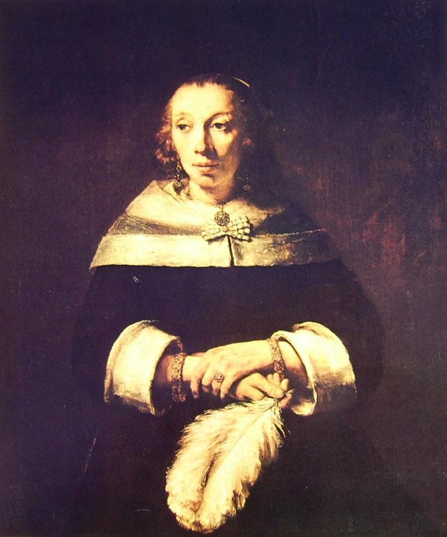 Rembrandt Harmenszoon Van Rijn: Ritratto di signora con ventaglio di piume di struzzo