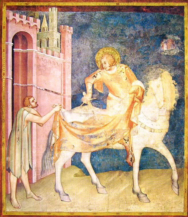 Simone Martini - Storie di San Martino - la divisione del mantello