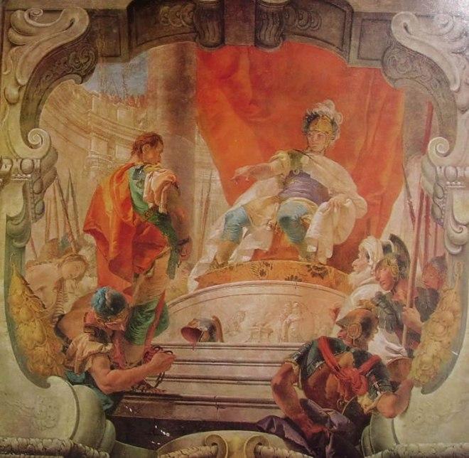 Il Tiepolo: Affreschi di palazzo Dugnani Milano, cm. 520 x 450, Scipione e lo schiavo.