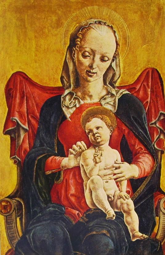 Cosmè Tura: Pannelli di polittico - (1) - Madonna con il bambino