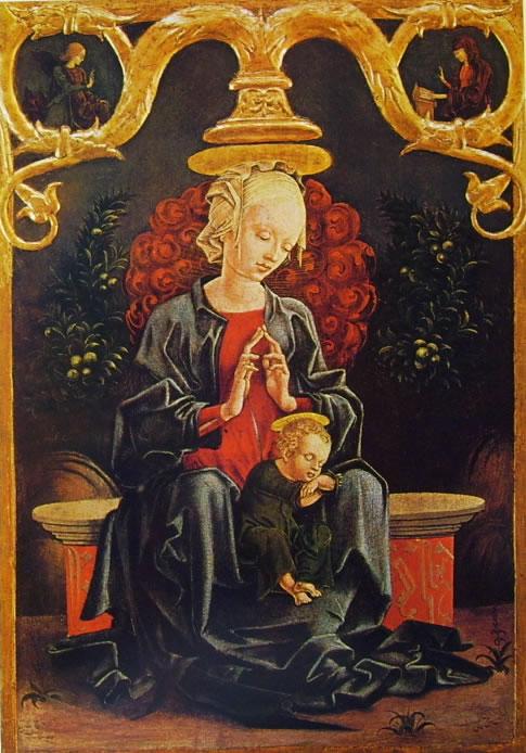 Cosmè Tura: Madonna col bambino in un giardino