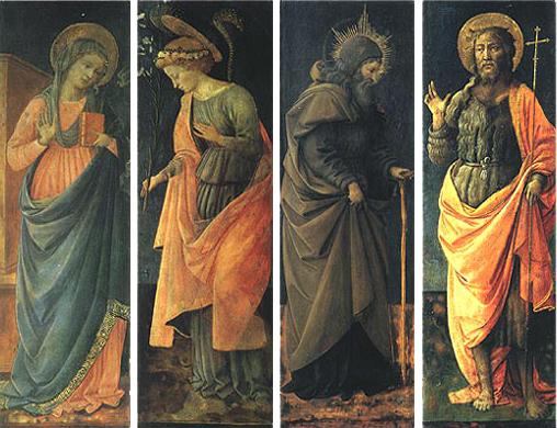 Filippo Lippi: Vergine Annunziata, Angelo Annunziante, sant'Antonio Abate e san Giovanni Battista