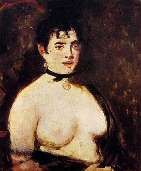 La bruna col seno nudo
