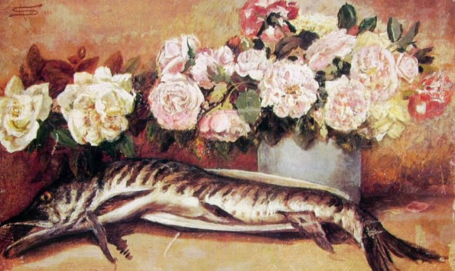 Segantini-natura morta con fiori e pesci