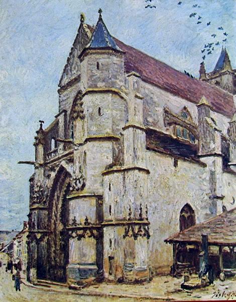 Alfred Sisley: La chiesa di Moret di pomeriggio