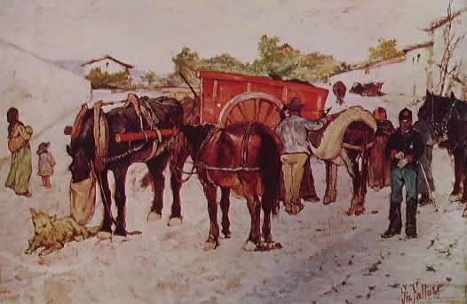 Fattori - Strada di paese con contadini e soldati