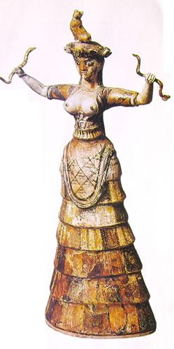 La dea dei serpenti, in ceramica smaltata, Museo Archeologico di Iràklion