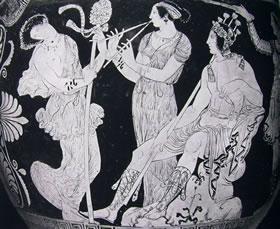 Pittore delle Carnee: Cratere a volute - Particolare della scena con Dionisio e le menadi danzanti