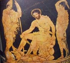 Pittore di Dolone: Cratere a calice - Particolare della scena in cui Ulisse interroga l'ombra di Tiresia