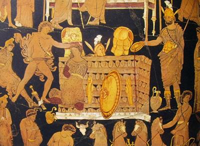 Pittore di Dario: Cratere a volute - particolare della scena con il rogo di Patroclo