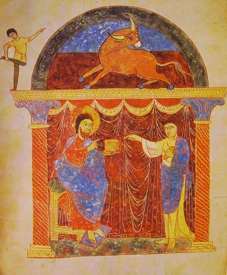 Apocalisse di Saint-Sever, Cristo consegna il Vangelo a Luca 1028-1072. Biblioteca Nazionale di Parigi