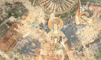 Affresco in Santa Maria di Foro Claudio: Madonna in Trono con Bambino