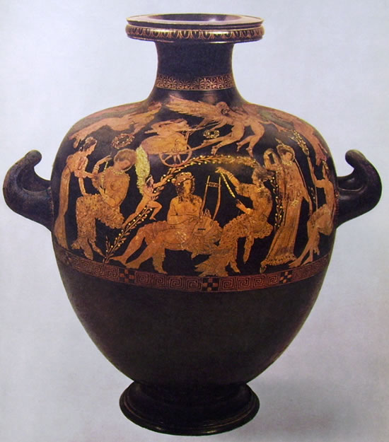 """Idria del """"Pittore di Midia"""" - Faone e le donne di Lesbo (Museo Archeologico di Firenze)"""