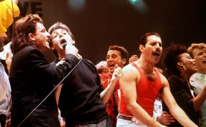 Bono, Paul McCartney and Freddie Mercury were among pop stars to join in Live Aid. [collection: 50 Years of British Pop]