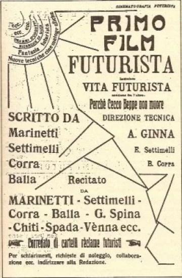 Il manifesto del film Vita Futurista (1916) di Arnaldo Ginna