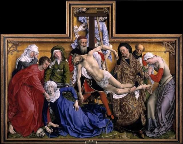 ROGIER VAN DER WEYDEN, Deposizione, 220x262, olio su tavola, 1433-35 ca., Madrid, Prado