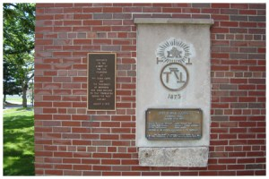 """In 1959, this plaque at Machmer Hall was dedicated """" to the memory of the 6 founders and 1000's of brothers who have builded on that foundation during the past century."""""""