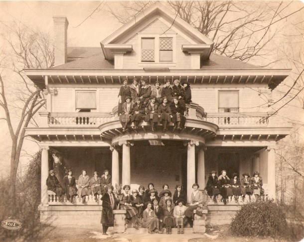 The Graham-Stevenson home when it was the chapter house of the Butler Unversity chapter of Kappa Kappa Gamma. (Photo courtesy of vintageirvington)