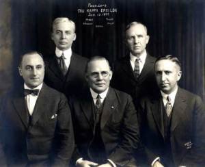 The five founders of Tau Kappa Epsilon. Clockwise from top left: James Carson McNutt, Owen Ison Truitt, Clarence Arthur Mayer, Joseph Lorenzo Settles, Charles Roy Atkinson