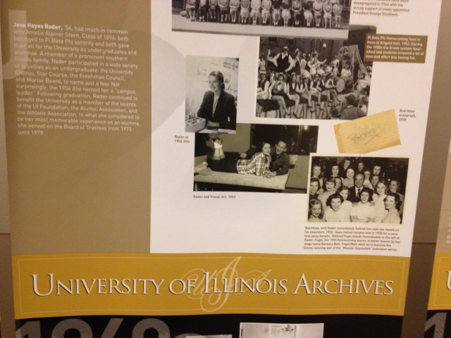 A banner in the University of Illinois Student Life Archives features one of the members of the Southern Illinois Alumnae Club of Pi Beta Phi.
