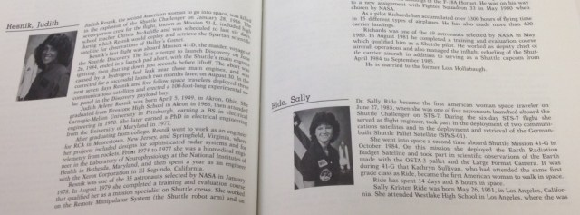 This book about astronauts, had these two female astronauts on the same page. One is a sorority woman and the other is not, The sorority woman is Judith Resnick, Alphe Epsilon Phi, and not Sally Ride.
