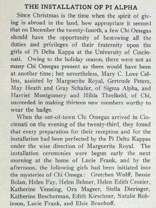 Eleusis article about the founding of the Phi Alpha chapter courtesy of Lyn Harris