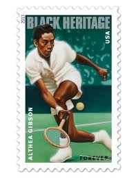 Aug 23, 2013. The Althea Gibson commemorative stamp went on sale today. The stamp is part of the United States Postal Service's Black Heritage Series. It recognizes Gibson, the first African American to win a Grand Slam.