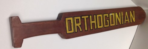An Orthogonian paddle courtesy of the Whittier College Museum