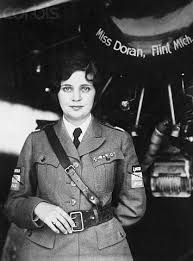 Mildred Doren wearing her Alpha Sigma Tau badge upon her flying uniform.
