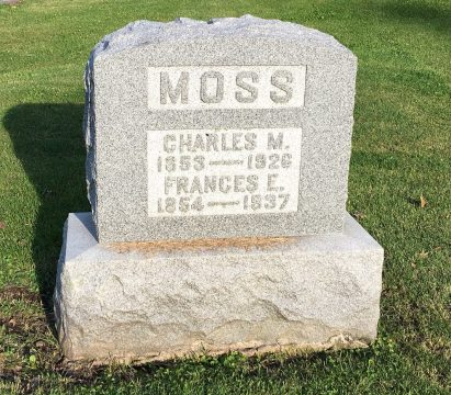 The gravestone of Frances Haven Moss and her husband Charles.