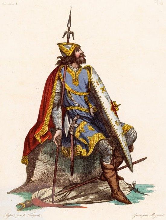 Charles Martel. Gravure publiée en 1836 dans le cadre d'une série de portraits en pied des personnages illustres de France