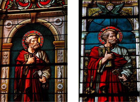 Exemples de vitraux exécutés selon la méthode artisanale et selon la méthode industrielle