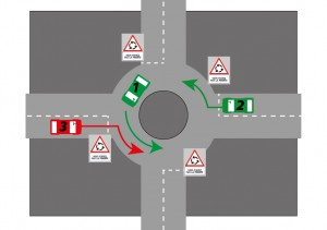 Priority at a roundabout