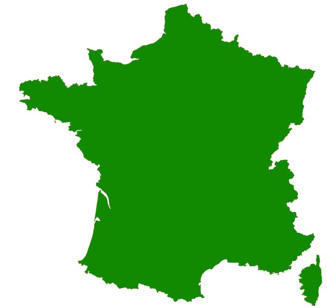 Contour map of France Filled in map of France Click here to download the full sized version