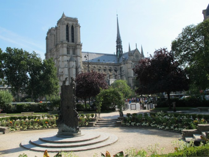 Notre Dame Paris viewed from Square René Viviani