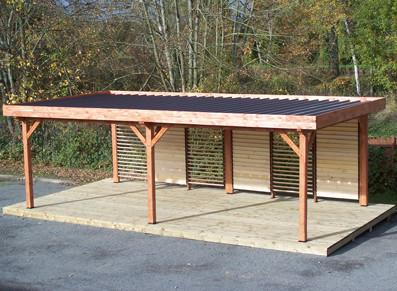 pergola en bois toit plat en bac acier