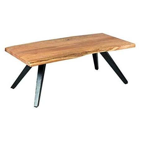 table basse bois metal de salon sur pieds metallique inclines laques noir prix remise