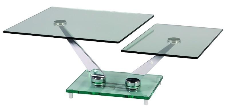 table de salon modulables en verre et chrome monte sur 4 plots en acier chrome