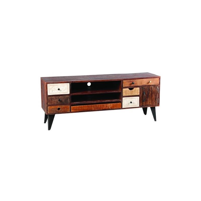 meuble de television a tiroirs de rangement pour revues cd notices cables decodeur bois et pieds metal