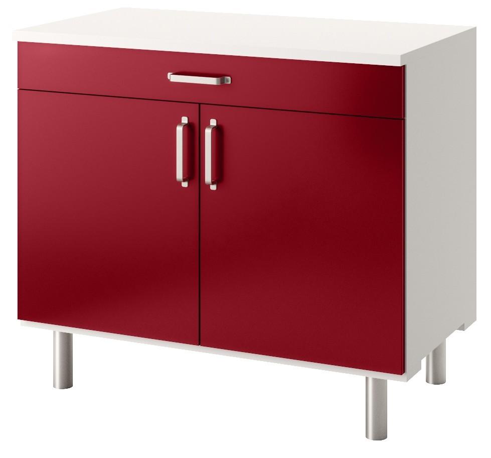 meuble bas cuisine 100 cm 2 portes couleur bordeaux brillant au meilleur prix francemobilia