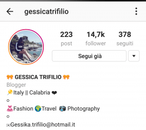 Immagine account Instagram Gessica