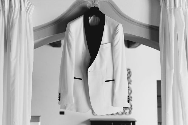 Groom dress in black and white | Villa la palagina resort