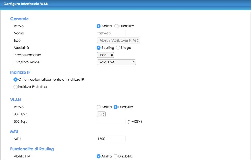 configurare lo zyxel di infostrada con i parametri fastweb (parte 1)