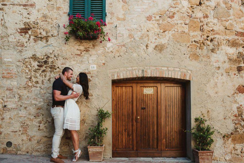 Wedding proposal inspiration Intimate portrait on old brick wall