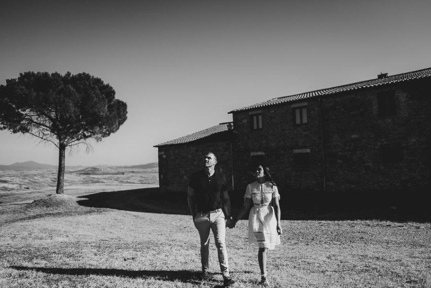 Wedding proposal inspiration walking in Tuscan Countryside