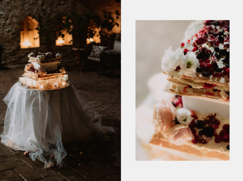 fairytale wedding italy umbria borgo della marmotta cakes buffet